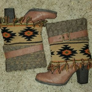 Brown ankle boots with sweater overlay